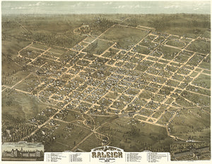 Raleigh, North Carolina - 1872 - Aerial Bird's Eye View Map Poster