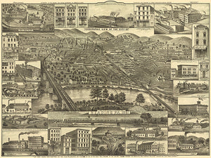 Reading, Pennsylvania - 1881 - Aerial Bird's Eye View Map Poster
