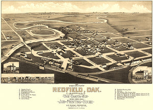 Redfield, South Dakota - 1883 - Aerial Bird's Eye View Map Poster