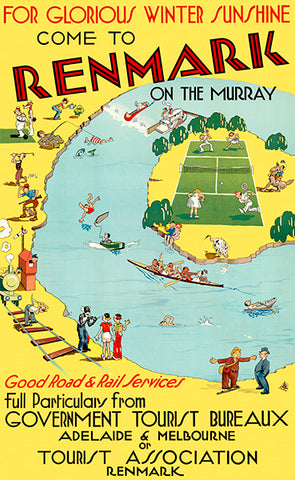 Renmark On The Murray - Adelaide & Melbourne - 1930's - Travel Poster