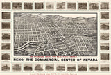 Reno, Nevada - 1907 - Aerial Bird's Eye View Map Poster