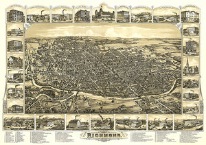 Richmond, Indiana - 1884 - Aerial Bird's Eye View Map Poster