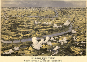Richmond, Virginia - 1862 - Aerial Bird's Eye View Map Poster