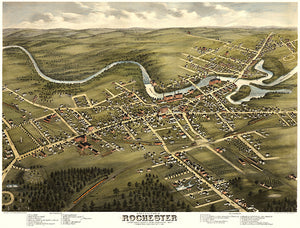 Rochester, New Hampshire - 1877 - Aerial Bird's Eye View Map Poster