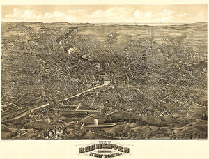 Rochester, New York - 1880 - Aerial Bird's Eye View Map Poster