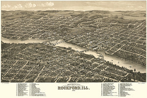 Rockford, Illinois - 1879 - Aerial Bird's Eye View Map Poster