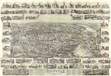 Rockville, Connecticut - 1895 - Aerial Bird's Eye View Map Poster