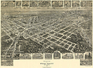 Rocky Mount, North Carolina - 1907 -  Aerial Bird's Eye View Map Poster