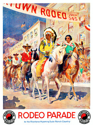 Rodeo Parade - Montana-Wyoming Dude Ranch Country - Native American - 1940's - Travel Poster