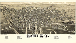 Rome, New York - 1886 - Aerial Bird's Eye View Map Poster