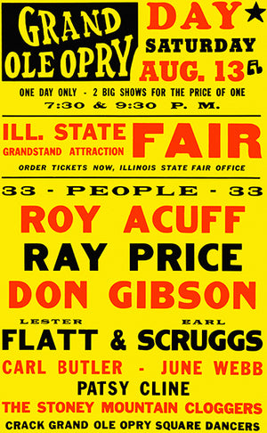 Roy Acuff - Patsy Cline - 1960 - Grand Ole Opry - Concert Poster
