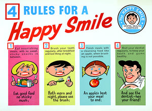 Rules For A Happy Smile - 1960's - Dental Health Poster