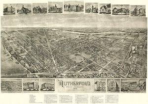 Rutherford, New Jersey - 1904 -  Aerial Bird's Eye View Map Poster