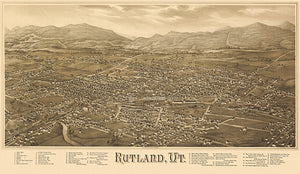 Rutland, Vermont - 1885 - Aerial Bird's Eye View Map Poster