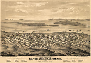 San Diego, California - 1876 - Aerial Bird's Eye View Map Poster