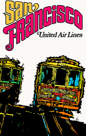San Francisco - California - United Air Lines - 1967 - Travel Poster Magnet