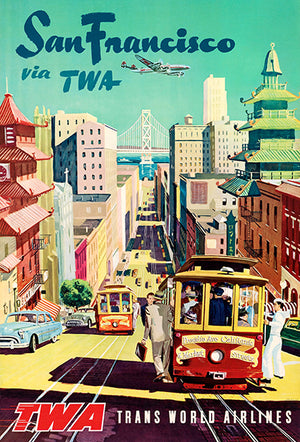 San Francisco Via TWA - 1955 - Travel Poster Magnet