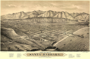 Santa Barbara, California - 1877 - Aerial Bird's Eye View Map Poster