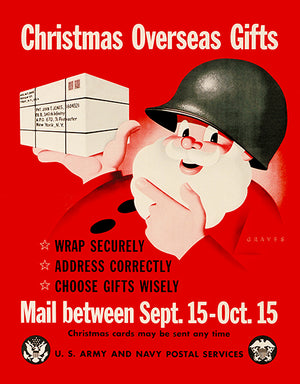 Santa - US Army Navy - Christmas Gifts - 1945 - World War II - Propaganda Poster