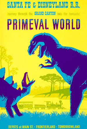 Santa Fe & Disneyland RR - Primeval World - 1966 - Travel Poster Magnet