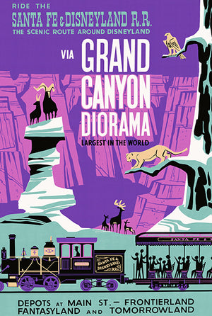 Santa Fe & Disneyland Railroad - Grand Canyon Diorama - 1958 - Travel Poster Magnet