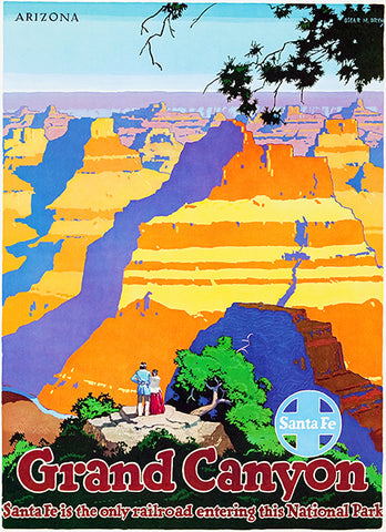 Santa Fe Railroad - Grand Canyon Arizona - 1949 - Travel Poster