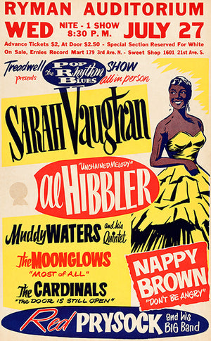 Sarah Vaughan - Muddy Waters - 1955 - Concert Poster