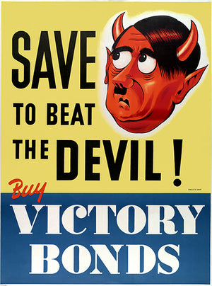 Save To Beat The Devil! - Buy Victory Bonds -1940s - World War II - Propaganda Mug