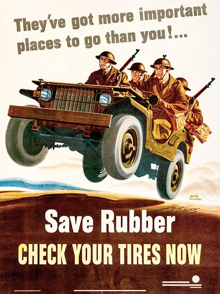 Save Rubber - Check Your Tires Now - 1942 - World War II - Propaganda  Poster Magnet