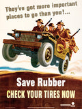 Save Rubber - Check Your Tires Now - 1942 - World War II - Propaganda Poster
