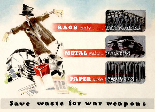 Save Waste For War Weapons - Scarecrow - World War II - Propaganda Poster  Magnet