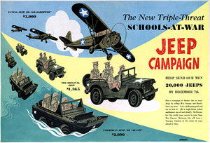 Schools-At-War - Jeep Campaign - 1943 - World War II - Propaganda Poster