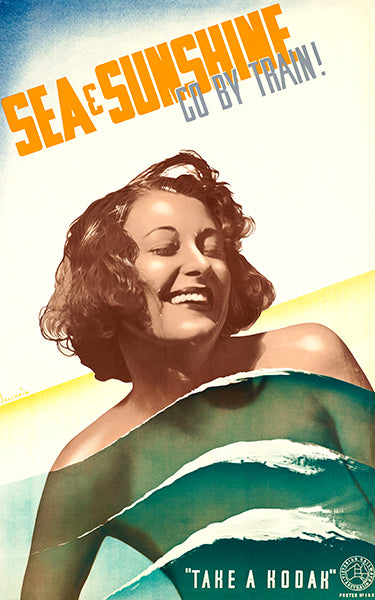 Sea & Sunshine - Go By Train - Take A Kodak - 1940's - Travel Poster