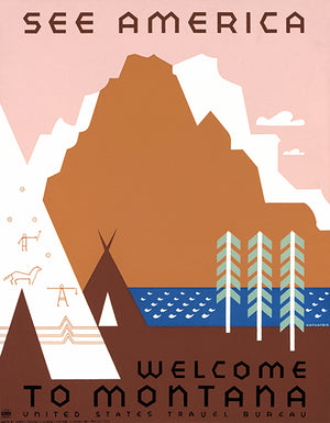 See America - Welcome To Montana - Indian Encampment - 1936 - Travel Poster
