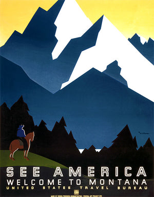 See America - Welcome To Montana - Mountains - 1936 - Travel Poster