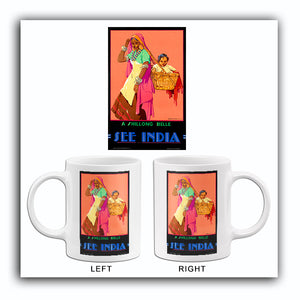 See India - A Shillong Belle - 1930's - Travel Poster Mug