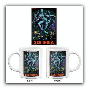 See India - Ellora - 1930's - Travel Poster Mug