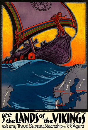 See The Lands Of The Vikings - Scandivania - 1940's - Travel Poster