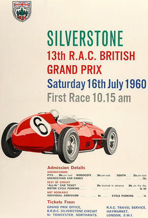 Silverstone R A C British Grand Prix - 1960 - Promotional Advertising Poster