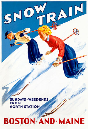 Snow Train - Skiing - Boston And Main - 1950's - Travel Poster Mug