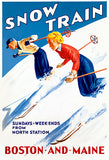 Snow Train - Skiing - Boston And Main - 1950's - Travel Poster