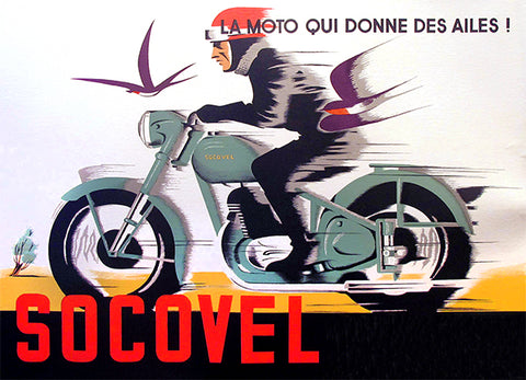 Socovel Motorcycles - 1940's - Belgium - Promotional Advertising Poster
