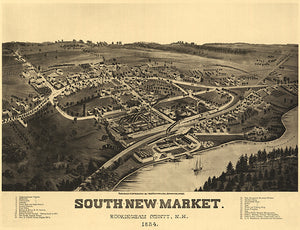 South-New-Market, Newfields, New Hampshire - 1884 - Aerial Bird's Eye View Map Poster