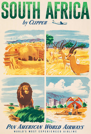 South Africa By Clipper - 1951 - Pan American World Airways - Travel Poster