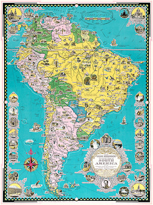 South America - 1942 - Pictorial Map Poster