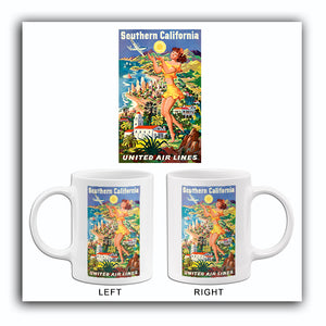 Southern California - United Air Lines - 1950's - Travel Poster Mug