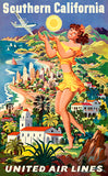 Southern California - United Air Lines - 1950's - Travel Poster