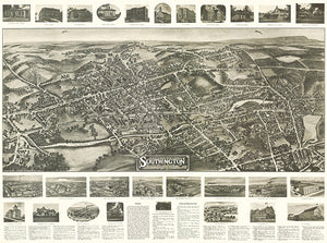 Southington, Connecticut - 1914 - Aerial Bird's Eye View Map Poster
