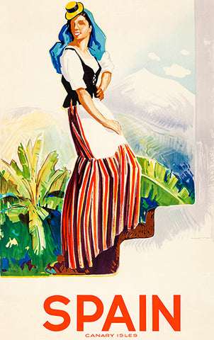 Spain - Canary Islands - 1940's - Travel Poster