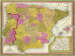 Spain and Portugal - 1846 - Map Poster